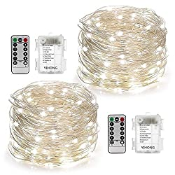 YIHONG 2 Set Christmas Fairy Lights Battery Operated,16ft 50LED String Lights Remote Control Timer Twinkle String Lights 8 Modes Silver Wire Firefly Lights for Garden Party Indoor Decor-White, farmhouse christmas decor ideas, diy farmhouse christmas decor