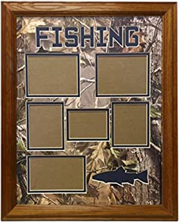 Northern Promotions, LLC. Framed & Matted Wildlife Art Real Tree Hunting Collage - Fishing (Medium Oak)