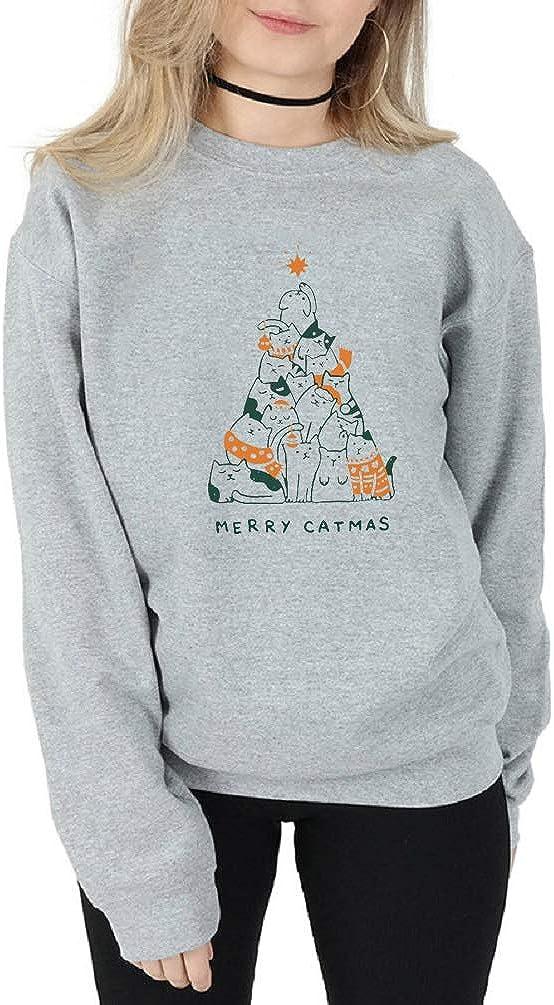 Merry Catmas Sweatshirt Women Long Sleeve Cute Cat Graphics Print Funny Christmas Tops