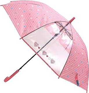 アテイン 子供用長傘 ハートレオパード ピンク 親骨55cm 透明窓付ジャンプ傘 グラフファイバー骨使用 1354