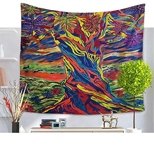 psychédélisme Aquarelle Arbre de Vie Tapestry Tapisserie Tenture Tapisserie Life Tree Tapisserie Chambre wohnheim Home Decor 79*59in Mehrfarbig