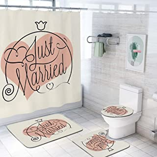 Wedding Decorations 69x70 inch Shower Curtain Sets,Stylized Hand Writing of Just Married on Pink Heart Tulip Flower Toilet Pad Cover Bath Mat Shower Curtain Set 4 pcs Set,Coral Black White