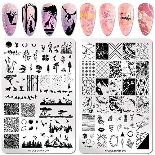 NICOLE DIARY 2Pcs Nail Stamping Plaques En Acier Inoxydable Nail Art Modèle de Timbre DIY Manucure Impression Pochoir Nail Art Outils