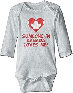 KIDDDDS Baby Someone in Canada Loves Me Maple Long Sleeve Romper Onesie Bodysuit Jumpsuit
