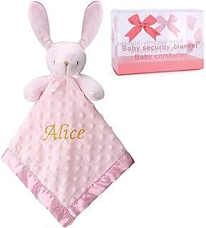 Pro Goleem Personalized Bunny Baby Lovey Stuffed Plush Lovie/Security Blanket for Girls Customized Minky Dot Blankie Best Thanksgiving Day Gift for Newborn/Infant/Toddler (15'', Custom)