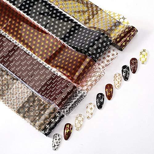 Nail FOILS Luxury Popular Nail FOIL Box with 10 Rolls FOIL Nail Stickers + 2pc Nail Sticker Designer Nail foils