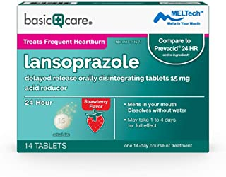 Basic Care Lansoprazole Delayed Release Orally Disintegrating Tablets 15 mg, Strawberry Flavor, 14 Count