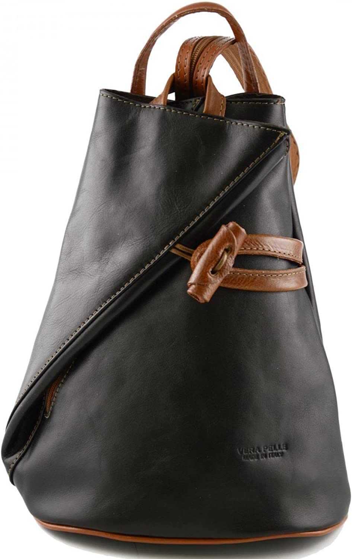 572f3aaa0a1d8 Damen Echtes Leder Leder Leder Rucksack Mit Tr auml ger Und  Rei szlig verschluss- Aniuk Farbe Schwarz Cognac - Italienische Lederwaren  - Rucksack B01M6Y902U ...
