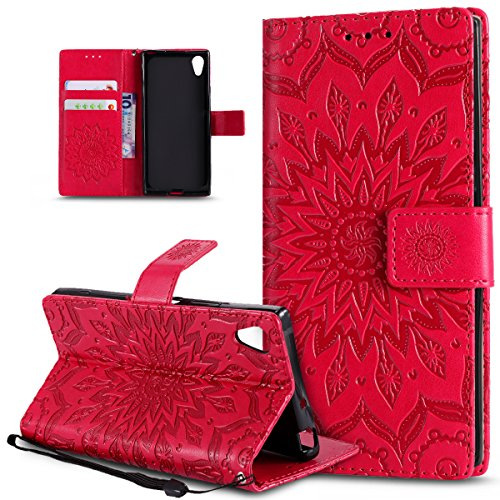 Sony Xperia XA1caso, Sony Xperia XA1Cover, ikasus), diseño de Mandala de flores de girasol patrón piel sintética plegable tipo cartera, funda de piel tipo cartera con función atril para tarjetas de
