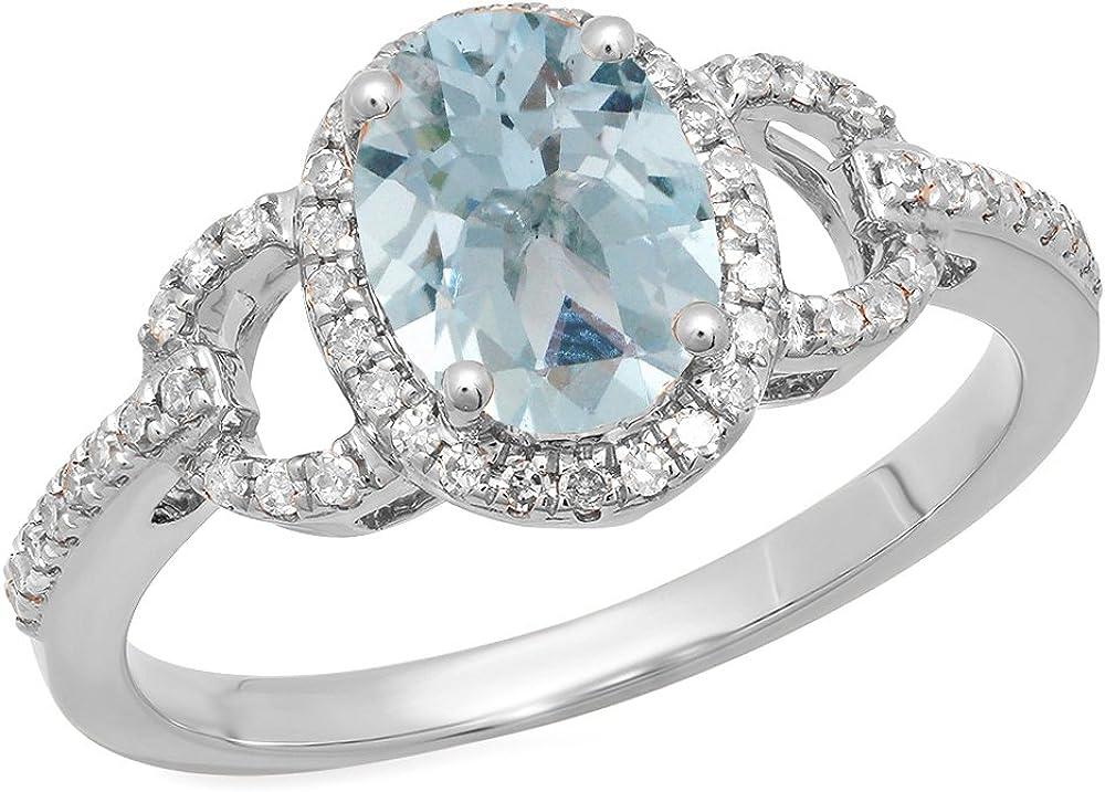 Dazzlingrock Collection 14K 8X6 MM Each Oval Aquamarine & Round Diamond Ladies Halo Engagement Ring, White Gold, Size 7