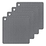 Silicone Hot Pads,Non Slip, Flexible, Durable Multi-Use Pot Holders, Trivets mat, Jar Opener, Spoon Rests,Garlic Peeler- Dishwasher Safe- Set of 4 (Gray)