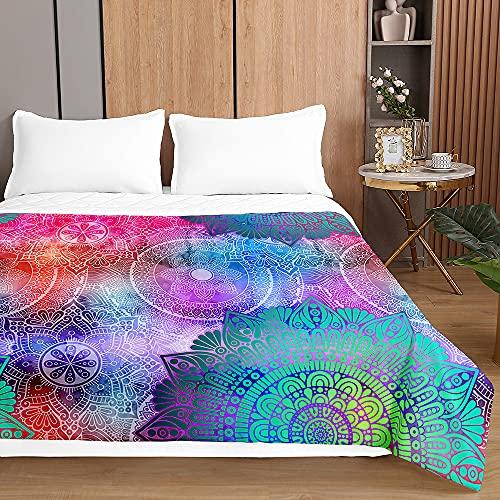 Colcha de Verano Cubrecama Colcha Bouti, Chickwin 3D Mandala Ligero Edredón Manta de Dormitorio Suave Multiuso Colchas para Cama Individual Matrimonio (Mandala Degradado Colorido,130x150cm)
