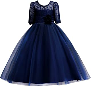 Little Big Girl Lace Flower Princess Formal Dress for Kids Tulle Party Dance Ball Gown Wedding Pageant