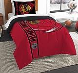 Officially Licensed NHL Chicago Blackhawks 'Draft' Full/Queen Comforter and 2 Sham Set, Red/Black