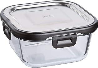 Spring Fusion2+ Boîte repas carrée en verre et acier inoxydable 13,5 x 13,5 cm 520 ml