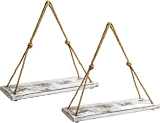 Wood Rope Hanging Floating Shelves Set of 2, Rustic Wood Hanging Shelf with 4 Hooks,Wall..