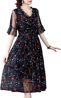 Womens Dress V Neck Short Sleeve Floral Print Summer Casual Dress غير رسمي (Color : Black, Size : L)