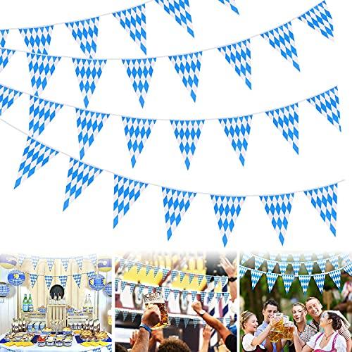 WELLXUNK 3 Stück x 10m Oktoberfest Deko Wimpelkette,Bayrische Deko Fahne Girlande,Innen Outdoor Dekoration Bayern,Oktoberfest Bunting,Party Bierzelten Dekoration