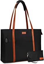 Relavel Laptop Tote Bag for Women Teacher Work Office USB Bags Fits 15.6 inches Laptop (Black and Brown Strap)