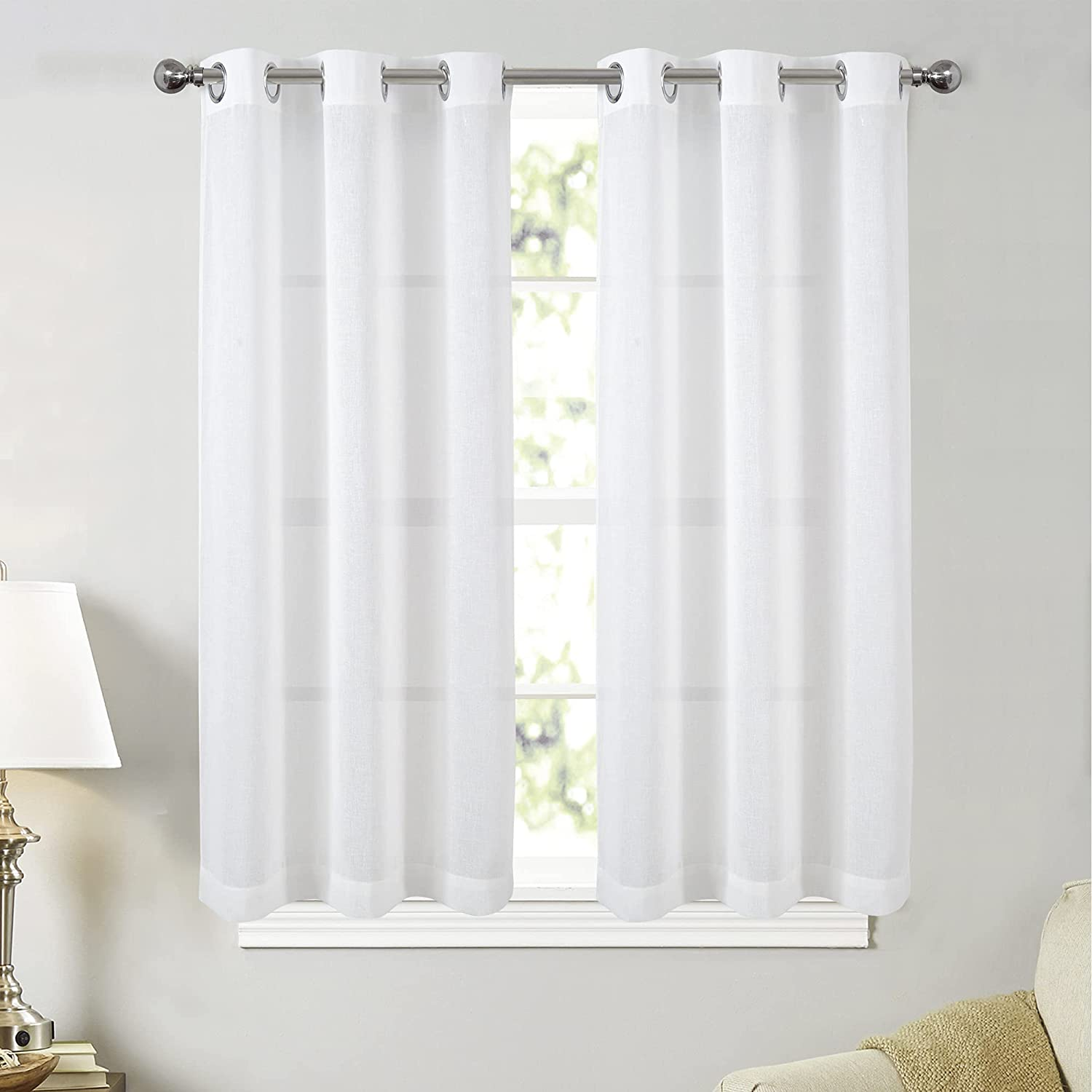 JZIALFPC White Sheer SEAL limited 25% OFF product Linen Curtains 54 Grommet Inch Length Top S