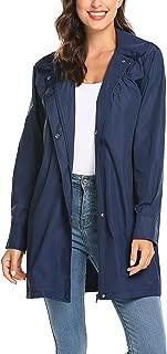 Women's Raincoat Lightweight Waterproof Outdoor Hooded Long Rain Jacket Windbreaker