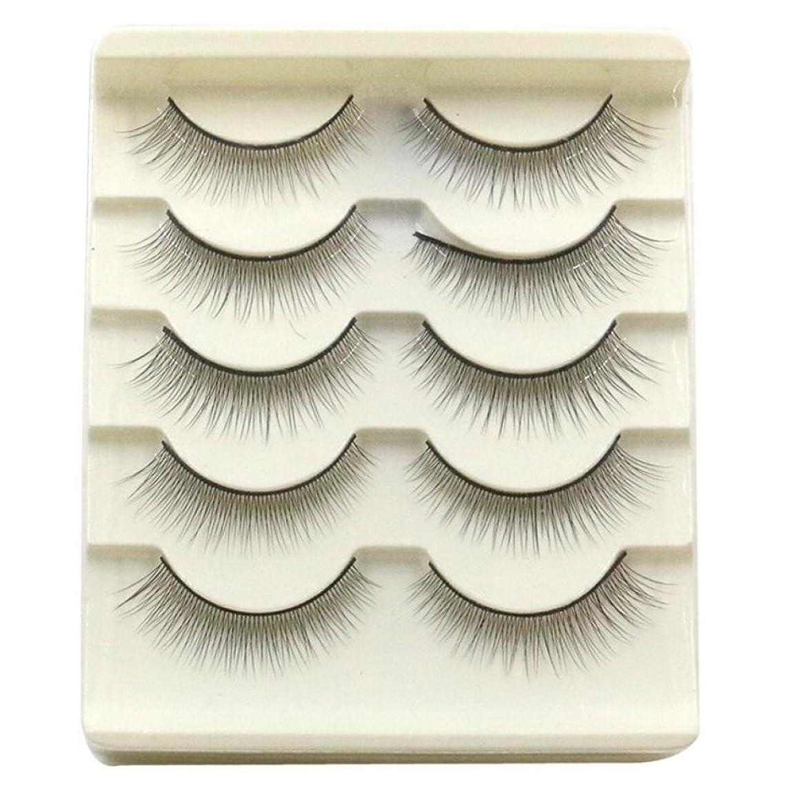 シアー礼拝ミリメーターFeteso 5ペア つけまつげ 上まつげ Eyelashes アイラッシュ ビューティー まつげエクステ レディース 化粧ツール アイメイクアップ 人気 ナチュラル ふんわり 装着簡単 綺麗 極薄