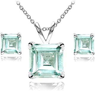Sterling Silver Genuine or Simulated Gemstone Square Solitaire Necklace and Stud Earrings Set