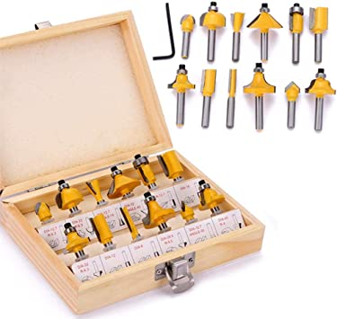 Holzfräser-Set 15-teilig HM Schaft 8mm Holzbearbeitung Trimmmesser Nutfräser
