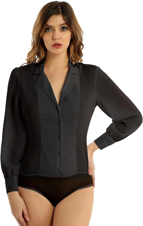 ACSUSS Women's One Piece Long Sleeve Button Down Shirt Easy Care Work Bodysuit Leotard Top