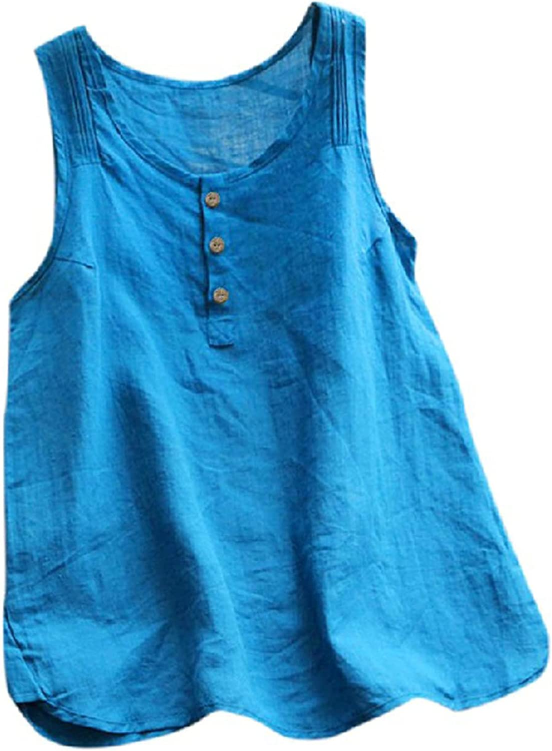 Womens Tank Tops Loose Fit Cotton Linen Button Up Plain T Shirts Solid Color Flowy Summer Tank Tops Sleeveless Vest