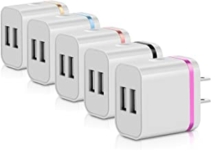USB Wall Charger,5-Pack 5V/3.1A Dual Port USB Plug Power Adapter Charging Cube/Block/Box/Brick Compatible with iPhone X 8/7/6 Plus SE/5S/4S, iPad, iPod, Samsung, Android Phone
