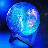 toyuugo Moon Lamp (5.9 Inch) Star Light Kids Night Light Galaxy Lamp 16 Colors LED 3D Star Lamp with Wood Stand, Touch & Remote Control & USB Rechargeable Baby Light Gift for Girls Lover Christmas