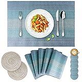 Tovagliette (Set di 14), Tovagliette Americana, PVC, Antiscivolo, Resistente al Calore, Resistente Allo Sporco e Lavabile, Adatto per Tavolo da Pranzo e Cucina (Blu)