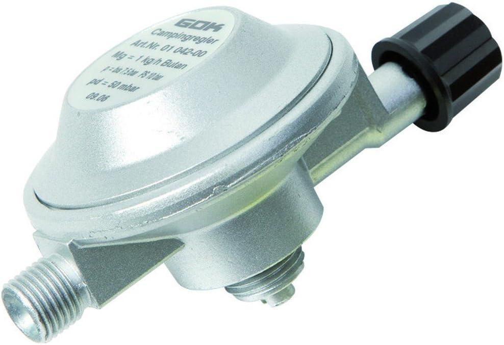 Uniroyal GOK - Regulador de presin CG 1/4 Izquierda 50 mbar para bombonas de Gas Campingaz Gas R 901, 904 y 907