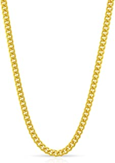 14K Yellow Gold Solid Miami Cuban Curb Link Thick Necklace Chains 1.5MM 2MM 2.5MM 5MM, 16