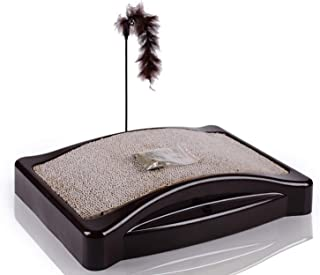 MeowWoof Cat Scratching Post, Curve Cat Scratcher Carboard with Catnip for Small and Large Cats