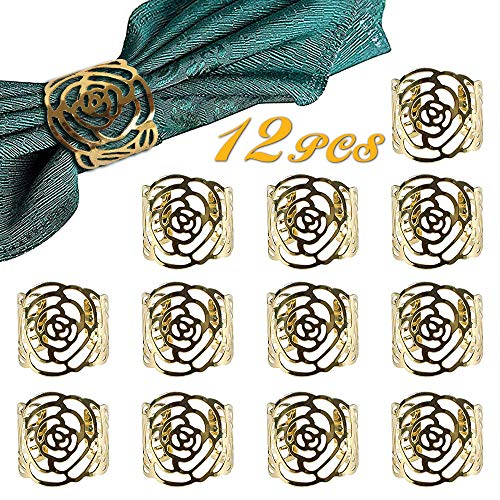 Napkin Rings Gold, Wedding Napkin Rings Set of 12/Metal Hollow Out Rose Napkin Ring Holders, Rose Napkin Rings for Table Deco/Party/Dinner