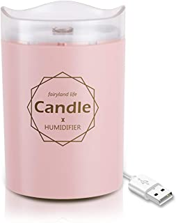 Ferrisland Mini USB Humidifier Cool Mist Ultrasonic Air Humidifier Portable with Warm Night Light Candle Romantic Soft Light USB Essential Oil Diffuser Car Purifier Aroma Anion Mist Maker, Pink