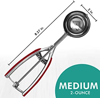 Millvado Stainless Steel Ice Cream/Cookie Scoop   Medium Sized, With Red Rubber Grips, Spring Loaded Lever Design, For Sorbet, Melon, Meatballs, Muffins, and More, 2 Ounce Scooper
