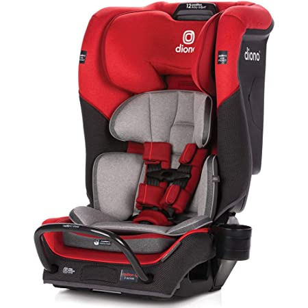 Diono Radian 3QX 4-in-1 Rear & Forward Facing Convertible Car Seat   Safe+ Engineering 3 Stage Infant Protection, 10 Years 1 Car Seat, Ultimate Protection   Slim Design - Fits 3 Across, Red Cherry