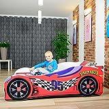 Cama infantil coche de carreras + somier (barandas) + colchón de espuma con cubierta (160 x 80 cm (3-8 años), red 95)