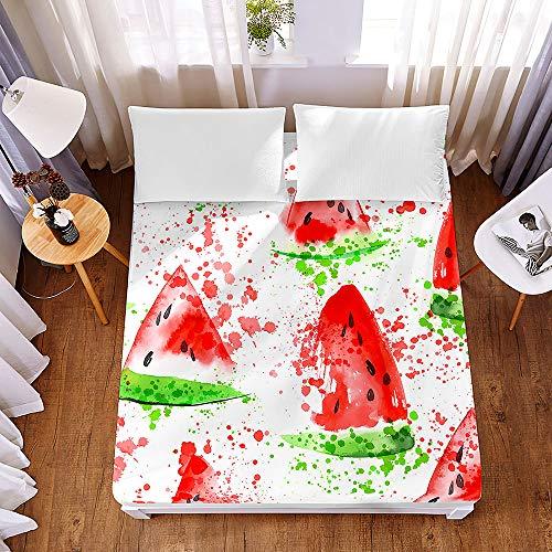 Chickwin3DFruit FittedSheetsPremiumMicrofibreBeddingSheetswithDeepPocket30cmforDoubleKingSingleSizeBed-ShrinkageFadeResistantEasyCare (Watercolor Watermelon,140x200x30cm)