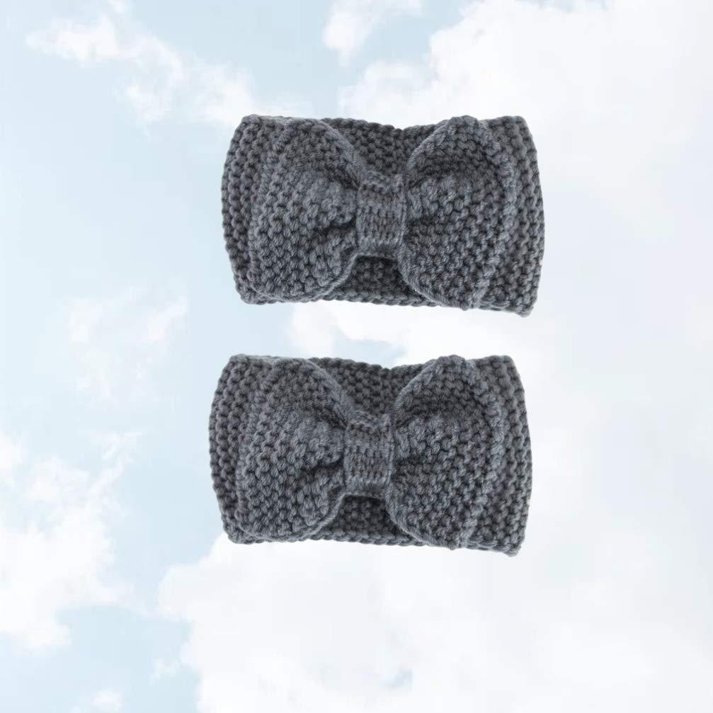 Minkissy 2Pcs Bowknot Headband Winter Headwear Warmer Ear Headband for Girls Women (Dark Grey)