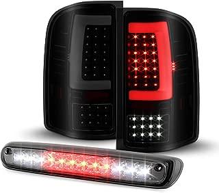 Fit 07-13 14 Siverado 1500 2500HD 3500 HD Sierra 3500HD LED [C-Tube] Sequential Signal Black Smoked Tail Light+3rd Brake