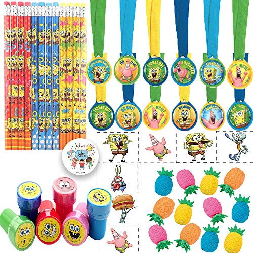 Spongebob Squarepants Birthday Party Favors Pack For 12 With Spongebob Pencils, Stampers, Tattoos, Pineapple Erasers, Medals, and Exclusive Pin By Another Dream