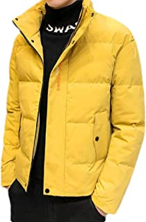Macondoo Men Stand Collar Removable Hooded Down Coat Outwear Parkas Jackets
