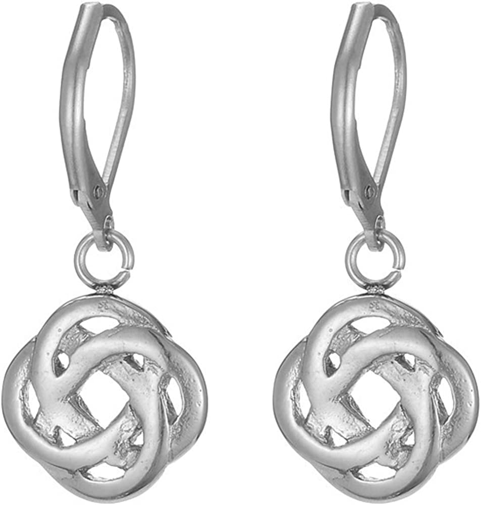 Stainless Steel Celtic Love Knot Classical Simple Plain Earrings