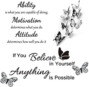 Inspirational Wall Decals with 3D Butterfly, Vinyl Wall Quotes Stickers, Ability Motivation Attitude DIY MotivationalSayings Wall Decor, Art Wallpaper for Home Bedroom Living Room SchoolClassroom
