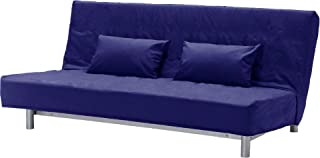 HomeTown Market The Cotton Beddinge Lovas Sofa Bed with Pillows Cover Replacement is Custom Made for IKEA Beddinge Futon. A Sleeper Slipcover Replacement (Polyester Flax Blue)