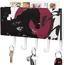 Crochet de clé fixé au mur, trieur de courrier, décor à la maison de cheval de lune rouge noir pour la pièce d'entrée, pré...